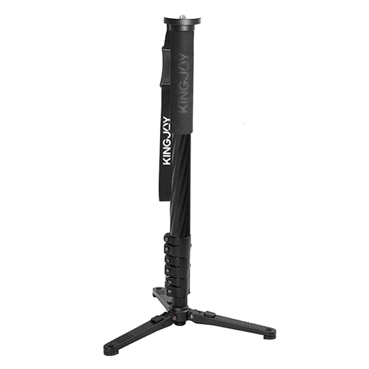 Black MP4208F+KH-6750 Compact Kingjoy MP Series Video Monopod Tripod 4-Section Flip Lock Telescoping Legs with Fluid Drag Head and Folding Three Support Stand Base