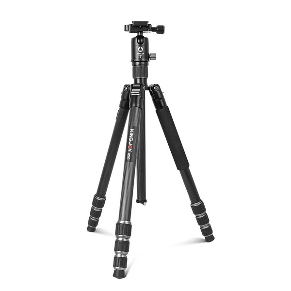 KINGJOY 5-section Aluminum Compact Foldable Lightweight Twist Lock Camera Photo Tripod with Ball Head Kit for Photography