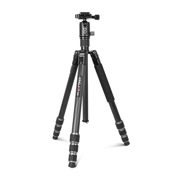 KINGJOY 4-section Foldable Carbon Fiber Lightweight Twist Lock Camera Photo Tripod with Ball Head Kit for Photography
