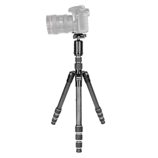 KINGJOY G1208+QB-0 4 Section Carbon Fiber Video Tripod(2 Section Center Column)