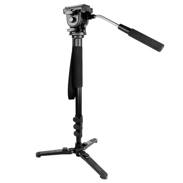 KINGJOY Aluminum Fluid Monopod Tripod Legs Kit, Kamisafe 4-Section Twist Locks  heavy Duty Video Monopod with Removable Fluid Drag Pan Head /Support Stand Base for DSLR Cameras Camcorders Shooting Filming