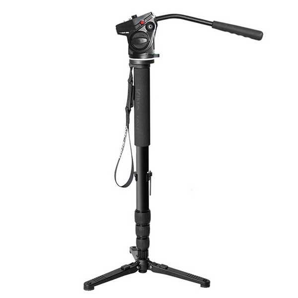 KINGJOY Professional Aluminum Video Monopod Tripod 4-Section Twist Lock Telescoping Legs with Fluid Damping Head VT-3510 and Folding Three Feet Support Stand Base for DSLR Camcorder Shooting Filming