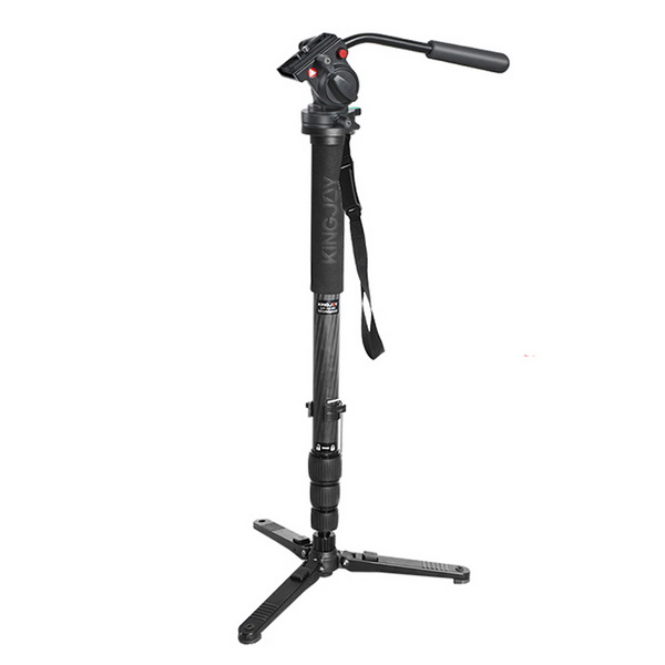KINGJOY Professional Carbon Fiber Video Monopod Tripod 4-Section Twist Lock Telescoping Legs with Fluid Drag Head and Folding Three Feet Support Stand Base for DSLR Camcorder Shooting Filming
