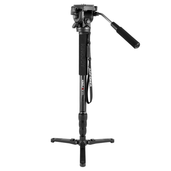 KINGJOY Carbon Fiber Fluid Monopod Tripod Legs Kit, Kamisafe 4-Section Twist Locks  heavy Duty Video Monopod with Removable Fluid Drag Pan Head /Support Stand Base for DSLR Cameras Camcorders Shooting Filming