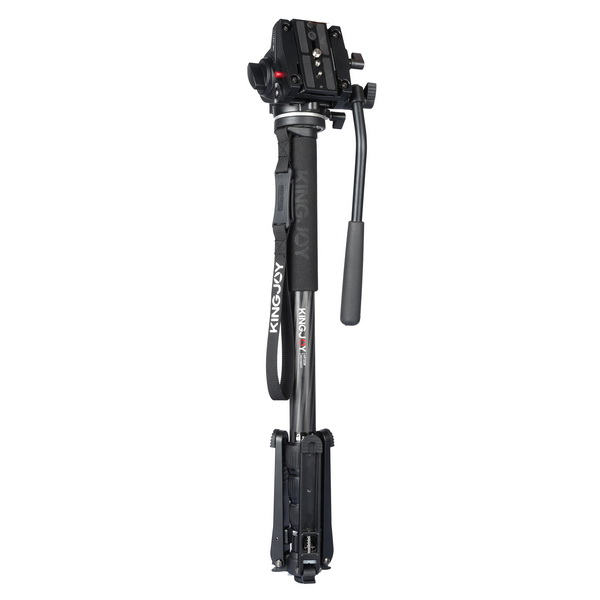 KINGJOY Professional Carbon Fiber Video Monopod Tripod 4-Section Twist Lock Telescoping Legs with Fluid Damping Head VT-3510 and Folding Three Feet Support Stand Base for DSLR Camcorder Shooting Filming