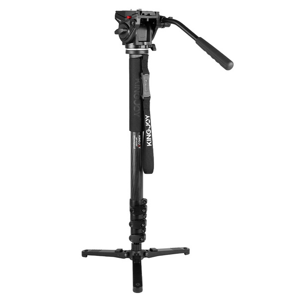 KINGJOY Professional Carbon Fiber Video Monopod Tripod 4-Section Flip Lock Telescoping Legs with Fluid Damping Head VT-3510 and Folding Three Feet Support Stand Base for DSLR Camcorder Shooting Filming