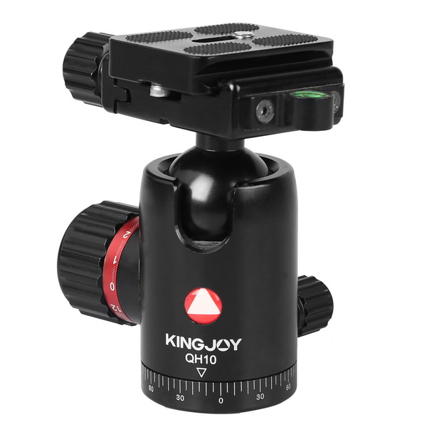 KINGJOY KINGJOY Professional High-end Aluminum CNC Machined High Precision and Locking Strength 360 degree Rotation Camera Ball Head QH10 with Friction Control