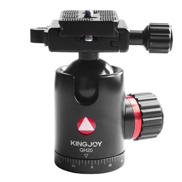 KINGJOY KINGJOY Professional High-end Aluminum CNC Machined High Precision and Locking Strength 360 degree Rotation Camera Ball Head QH20 with Friction Control